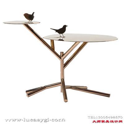 创意设计师家具 动物桌子 金属边几角几个性边桌 茶几不锈钢电镀金色