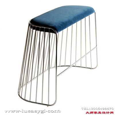 北欧创意设计师家具 304不锈钢电镀双座矮凳 新娘的面纱双人凳