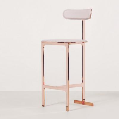 高端家具玫瑰金 吧台椅 样板房咖啡厅酒吧椅金属椅子设计师复刻版 金属电镀超纤皮