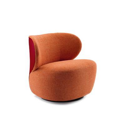 北欧玻璃钢休闲沙发客厅书房椅 矮设计师休闲椅 360度旋转单人 面料颜色可定制