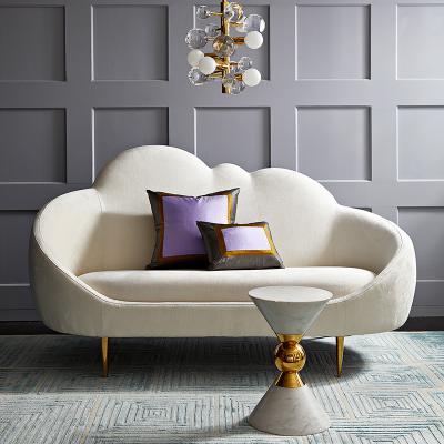 北欧法式宫廷简约现代售楼处不锈钢贵妃布艺创意乔纳森·阿德勒醚长椅设计师三人组合云朵沙发贵妃榻