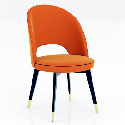 意大利品牌家具 经典设计师休闲餐椅个性实木创意椅子 五金包脚电镀