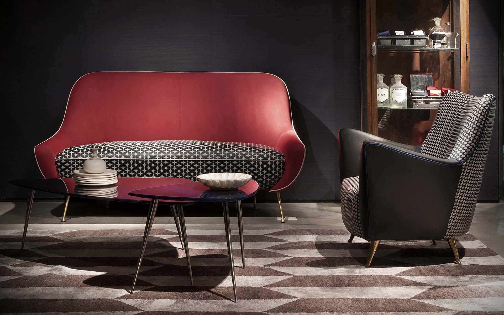 北欧意大利设计师家具 双人非对称沙发 五金电镀脚 人体工学扶手躺靠沙发