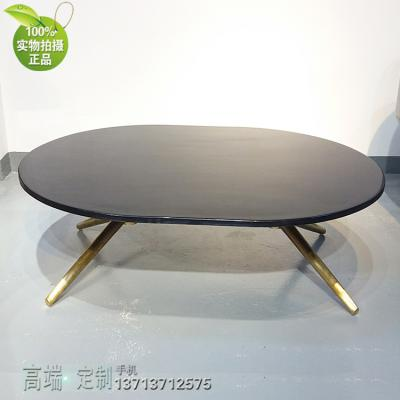 椭圆半圆正圆大理石茶几不锈钢电镀金色脚 双脚大型 定制规格角几