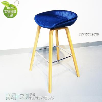 实物布艺西皮高脚吧椅 HAY吧椅全软包AAS33 坐墊木腳吧台椅丹麥 Hee Welling