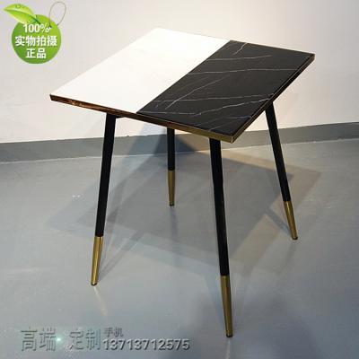 方形桌子大全 新中式不锈钢电镀大理石餐桌 店铺装饰 服装店美容店洽谈桌酒店