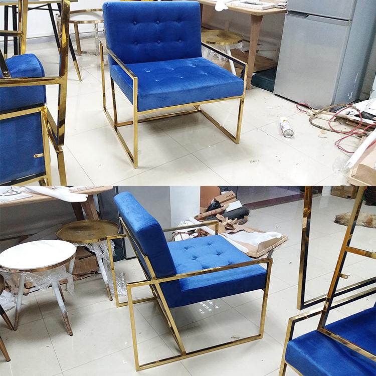 实物现货 单人双人三人不锈钢电镀金色布艺PU西皮皮革沙发 可定制
