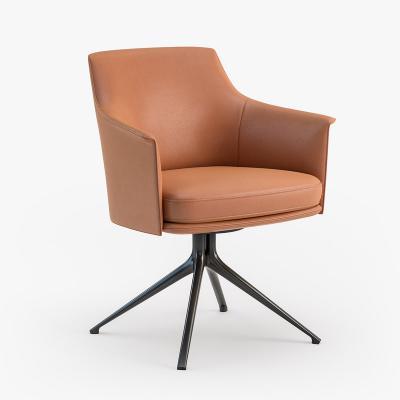 大师设计 休闲椅餐椅 斯坦福扶手椅简约靠背椅洽谈椅 不锈钢电镀脚布艺西皮