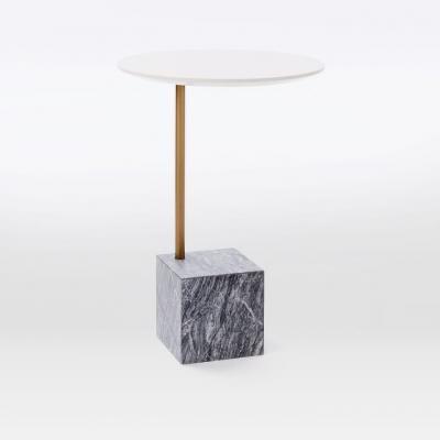Cube C-Side Table - White/Gray Marble 立方体c边桌-白色/灰色大理石 实木不锈钢电镀铜色 茶几边几角几