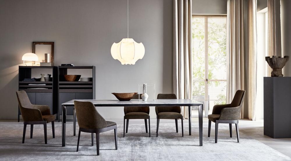 Molteni&C FILIGREE 餐桌 欧洲 五金不锈钢电镀铁烤漆 大理石桌面会议办公桌