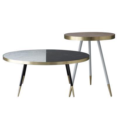 不锈钢金色 大理石 玫瑰金 茶几边几 美式现代乐队边桌