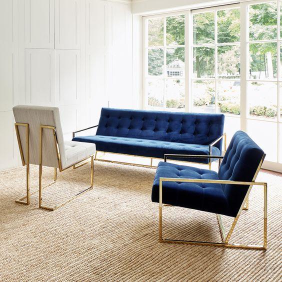 不锈钢电镀香槟金玫瑰金三人位沙发 Goldfinger Apartment Sofa 北欧设计师Jonathan Adler沙发椅