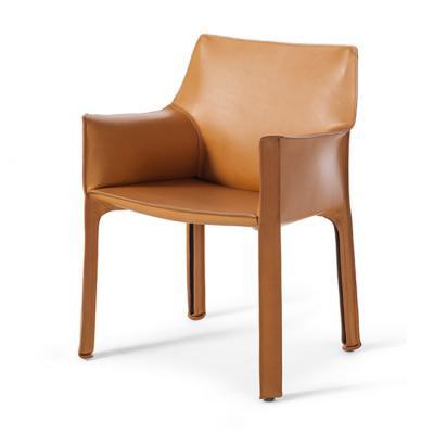 北欧设计师 餐椅休闲椅酒店会所马鞍皮扶手餐椅样板房 马鞍椅咖啡厅硬皮