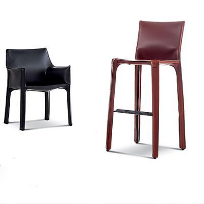 高级定制马鞍椅马鞍皮 硬皮椅 无扶手中厚皮酒吧咖啡厅 北欧设计师 现代极简单