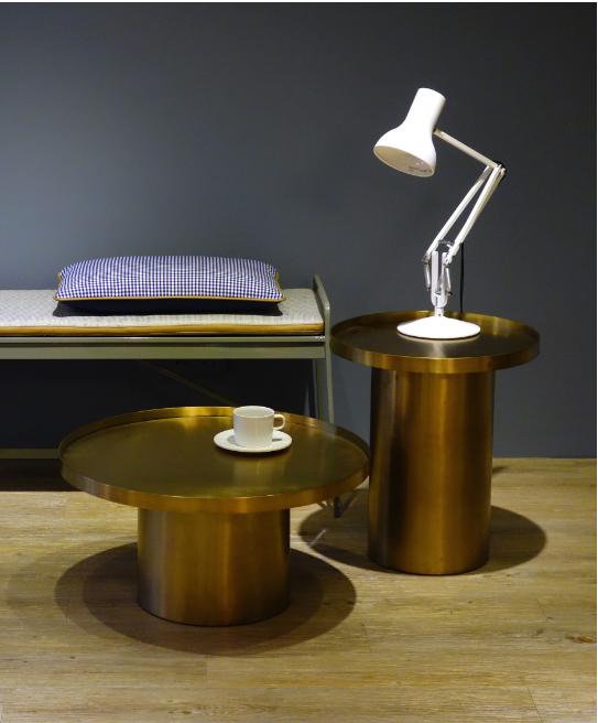 金色不锈钢茶几Rivet coffee Table 设计师圆形角几样板房颜色规格可定制