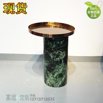 [有货] 现货 大理石茶几回柱边几角几 古铜色不锈钢电镀无指纹 会所正圆可定制
