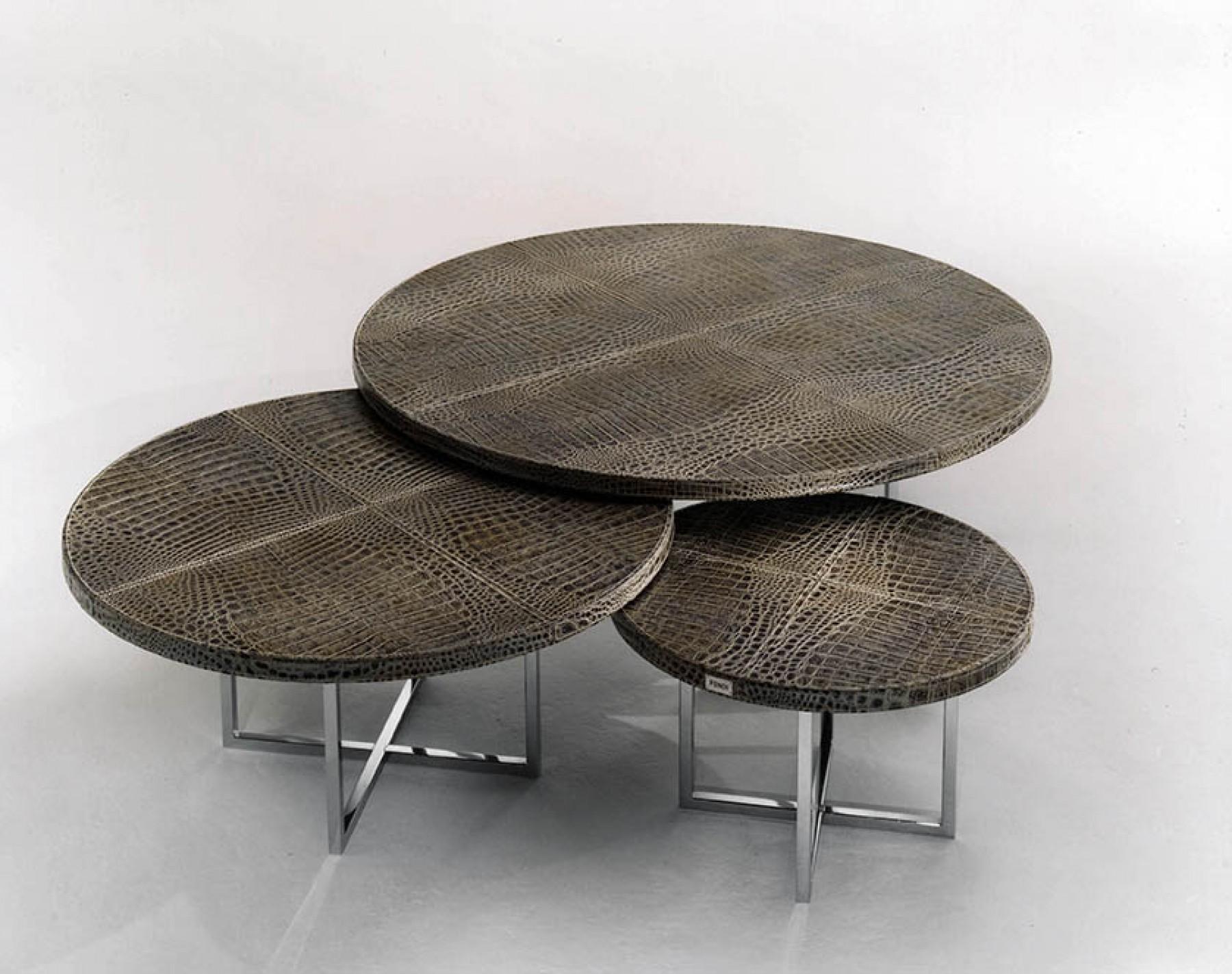 系列 茶几 FENDI OLIMPIC ROUND可收纳边几 五金木制桌子
