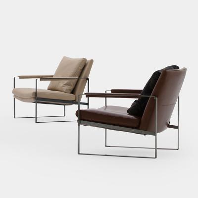 设计师五金家具 意式时尚休闲椅子简约现代单人客厅阳台洽谈沙发椅子