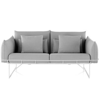 北欧现代布艺双人位两座沙发 休闲大小户型沙发 美容美甲别墅五金