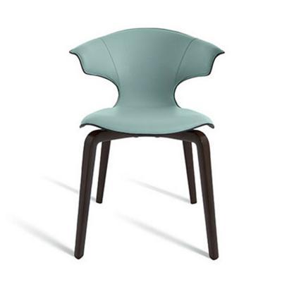 皮革安乐椅 设计师罗伯特·lazzeroni 意大利餐椅超薄椅子 玻璃钢铁脚耐用型