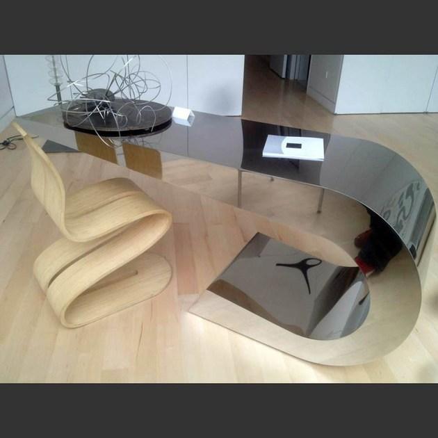 U型L型前台电脑桌 不锈钢电镀展示桌纯洁情感 Lamberti Design ONDA C 小款茶几