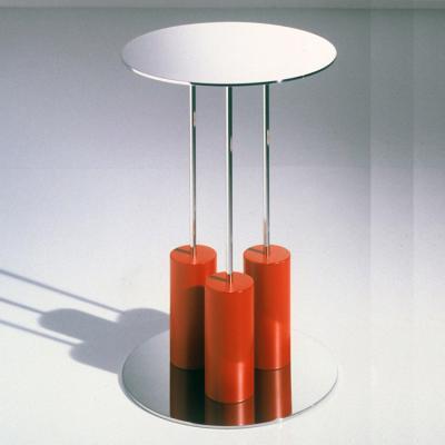 蜡烛红色漆不锈钢电镀边几角几Mobile 5-A Round mirrored glass coffee table
