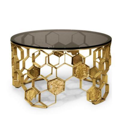 不锈钢电镀大理石钢化玻璃茶几 BRABBU MANUK Round brass coffee table