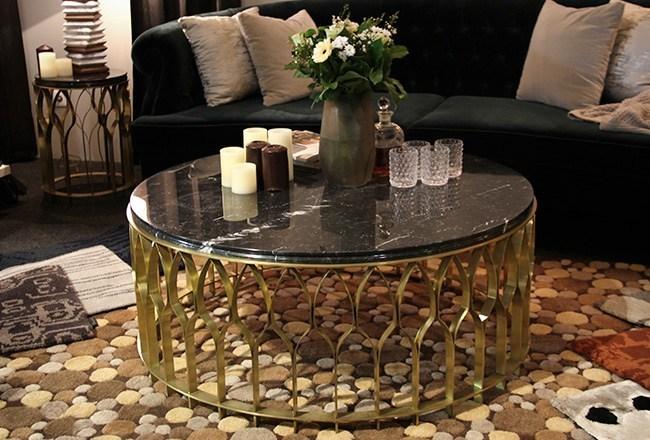 栅栏栏杆茶几大全 不锈钢黄铜色金色拉丝大理石 边几 BRABBU MECCA  Round side table