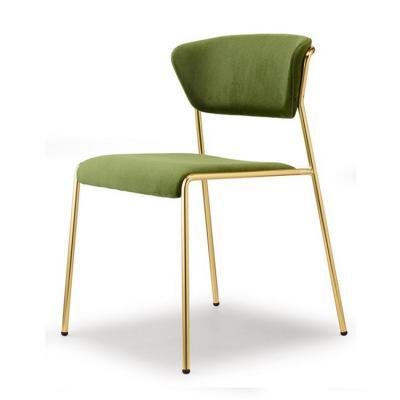 2018年样品新款 简洁五金弯板餐椅 SCAB DESIGN LISA  Fabric chair 会所酒店轻奢家具