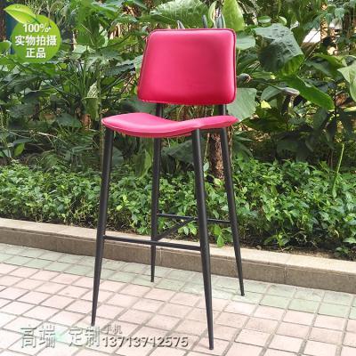 北欧设计方管缩管圆形变小 五金异形酒吧高脚椅子 吧椅 布艺皮革