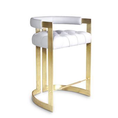 亮面高脚吧椅凳子 拉丝黄铜黄金色不锈钢电镀Ottiu WINFREY Leather stool High