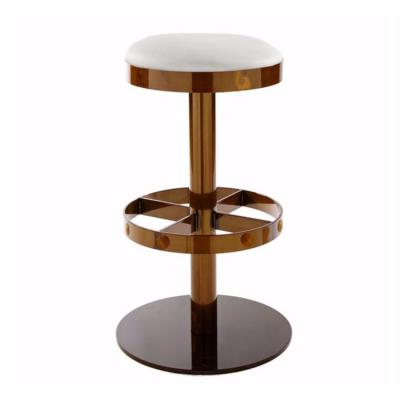 不锈钢电镀 铁烤漆 酒吧椅 圆形架高脚吧椅 绒毛布艺软包座垫  Vela Arredamenti