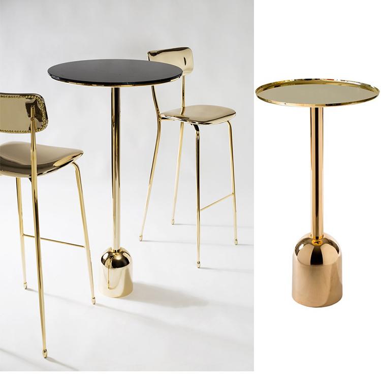 2018年新品新款茶几 不锈钢电镀香槟金玫瑰金 大理石圆桌面Vela Arredamenti  BALOK Table