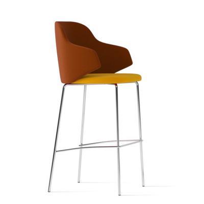 不锈钢抛光电镀吧椅 半圆形靠背Arte & D HOST  Barstool 餐椅五金铁椅