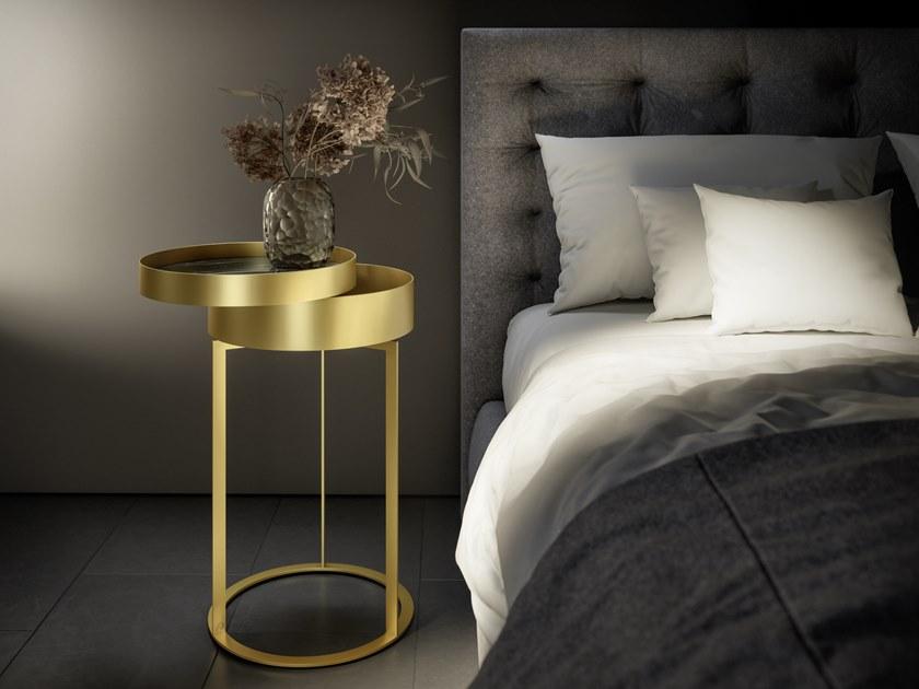 抽屉床头柜茶几不锈钢金色贮藏角几边几 Draenert NIGHT  Metal table  Stephan Veit