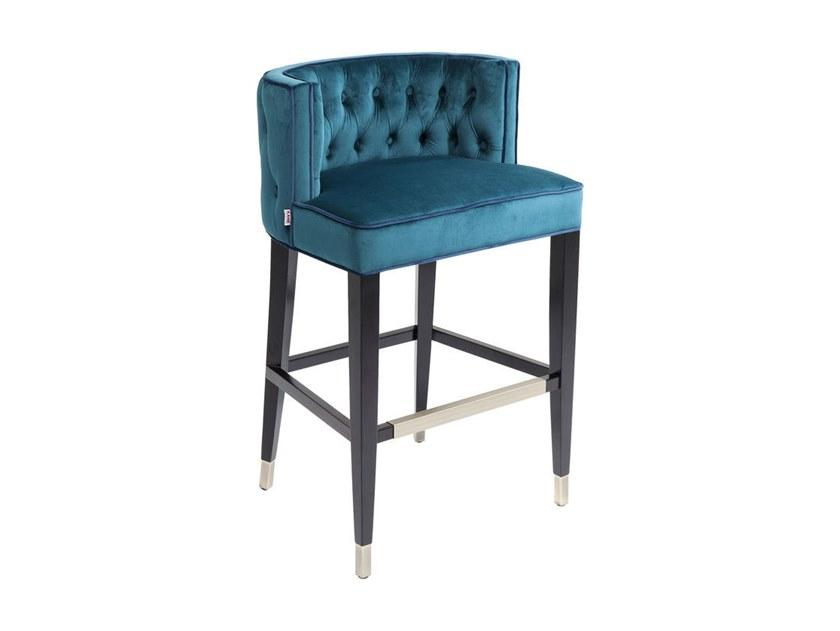 新中式欧式复古吧椅拉扣 KARE-DESIGN ARISTO | Barstool  实木套金色脚绒布高脚椅