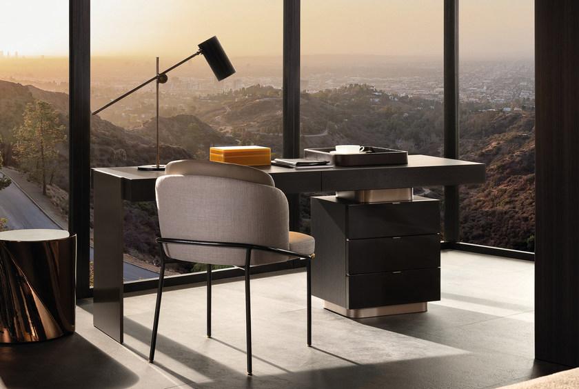 2017的新品新款上市Minotti CARSON  Writing desk 办公室酒店会所桌子高级老板总裁经理不锈钢电镀实木桌