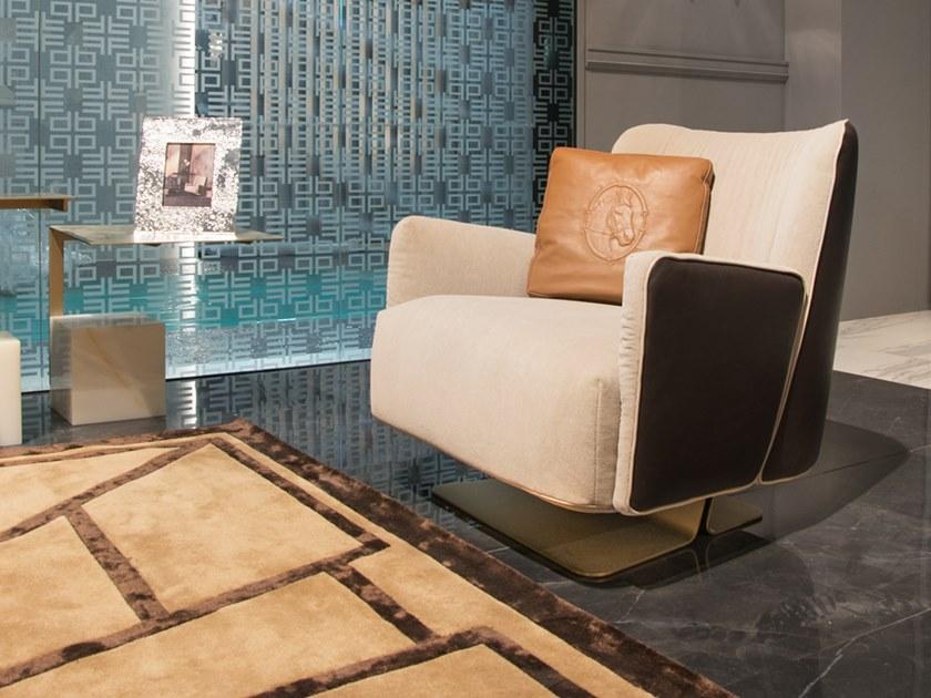 皮质扶手椅休闲椅 不锈钢电镀五金脚架Formitalia SUNRISE Deerskin armchair