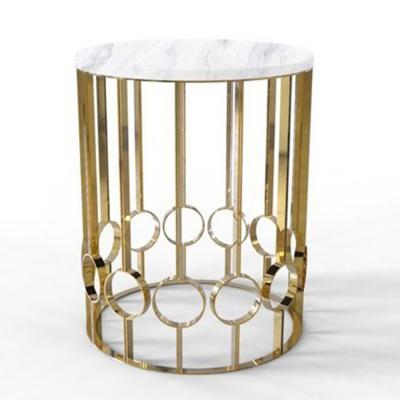 铜色不锈钢电镀金色大理石茶几边几角几 设计师作品Duquesa & Malvada D'ORO  Side table