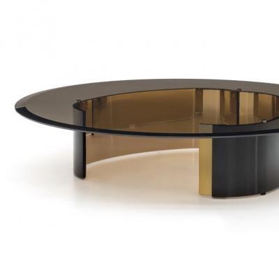 2019年新品 Minotti BANGLE 圆咖啡桌 客厅圆形玻璃茶几 手镯桌子