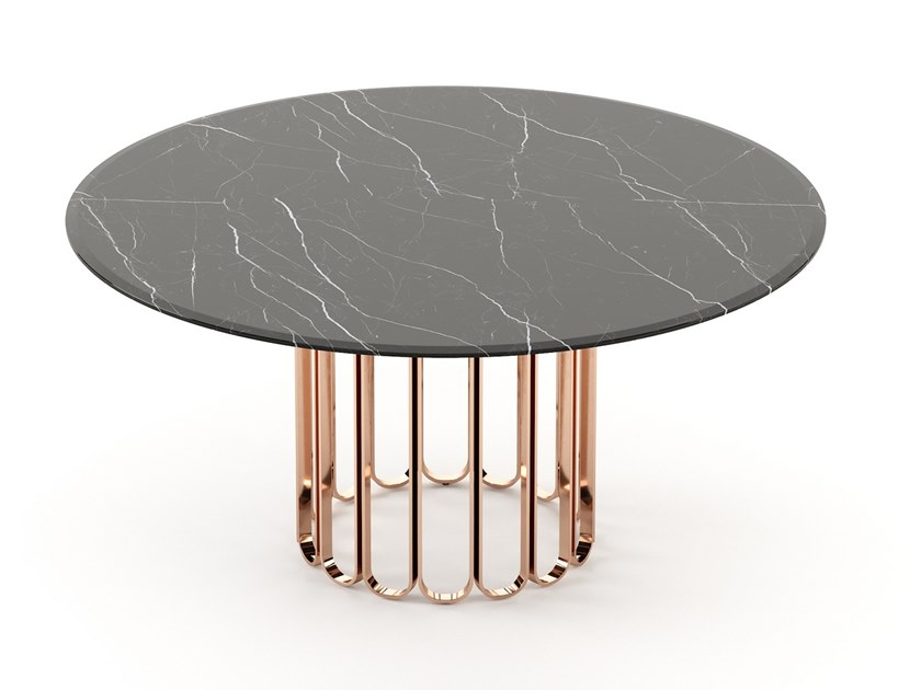 2019年新款桌子 Laskasas谢丽尔大理石圆餐桌 不锈钢电镀铁烤漆钢化玻璃实木桌面