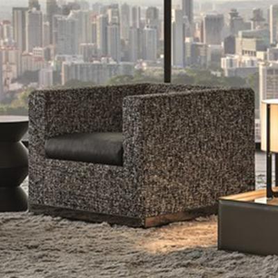 2019年新款 Minotti手提箱线方正砖头广块单人沙发 不锈钢电镀枪黑包边 迷彩布艺