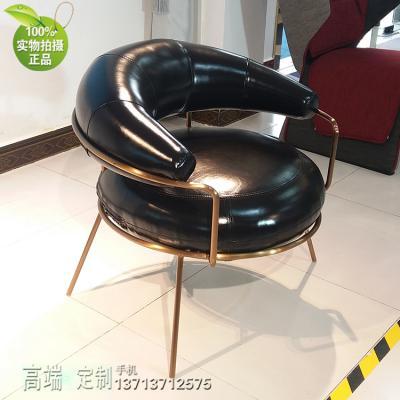 乌克兰设计意大利风格 魔性月亮休闲沙发椅 不锈钢电镀玫瑰金铜 香槟金