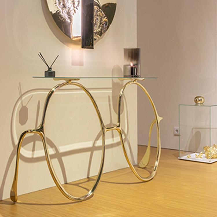 伊始贝莎列侬桌案边桌桌子 玄关桌 眼镜桌子 音乐 不锈钢电镀黄铜
