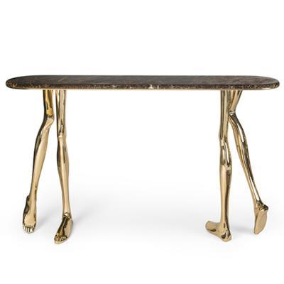 门罗控制台桌案五金不锈钢抛光黄铜电镀帝王大理石青色石材