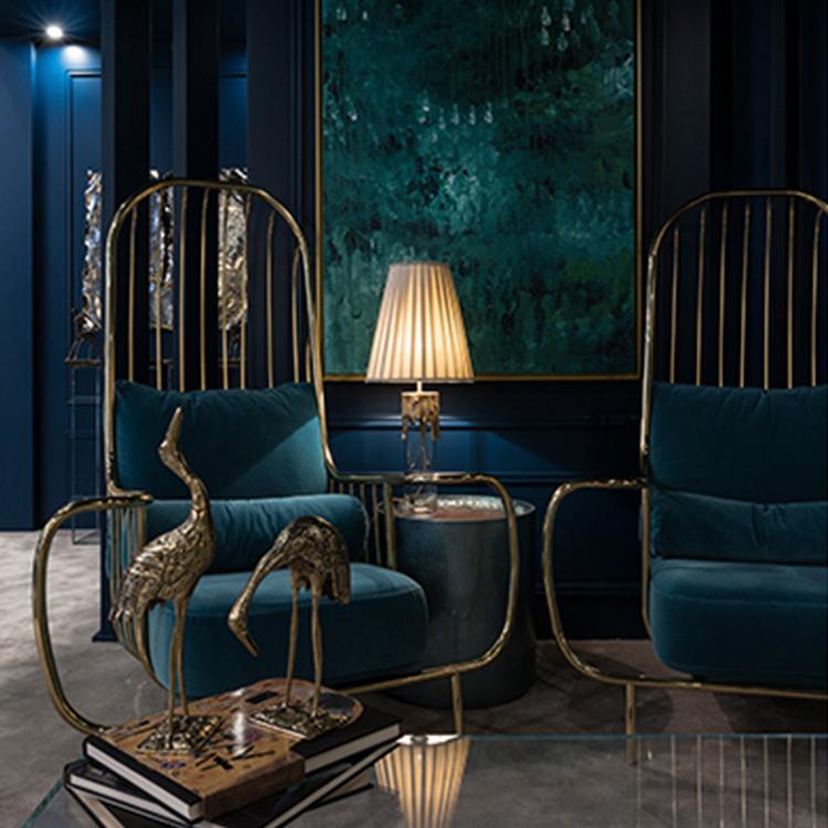 自由扶手椅高背复古鸟笼椅 不锈钢休闲椅 绒布绝配天鹅绒