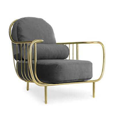 自由扶手椅复古鸟五金软包家具沙发椅 不锈钢休闲椅 绒布绝配天鹅绒