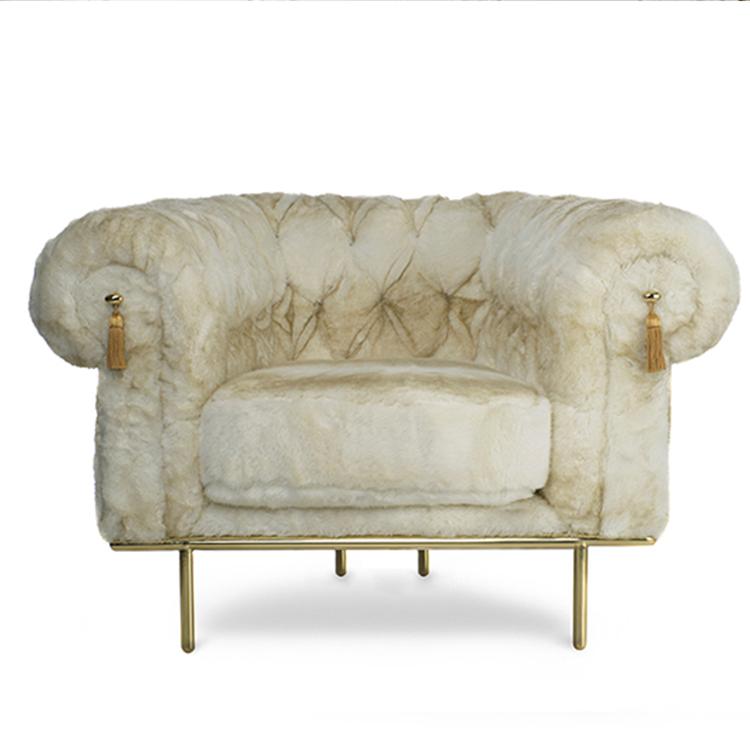 英国沙发皇宫贵族电镀金色拉扣 高档高端绒布艺沙发切斯特菲尔德扶手椅单人沙发绵羊