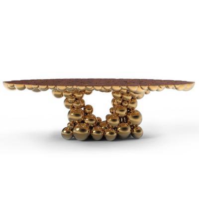 Boca do Lobo Newton dining table牛顿桌子奢华高质量镀金球体黄铜半球 餐桌办公会议大班桌