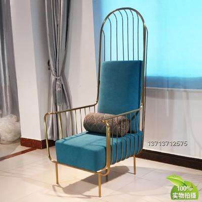 实物葡萄牙设计师休闲椅不锈钢拉丝电镀无指纹铁烤漆绒布麻布方格